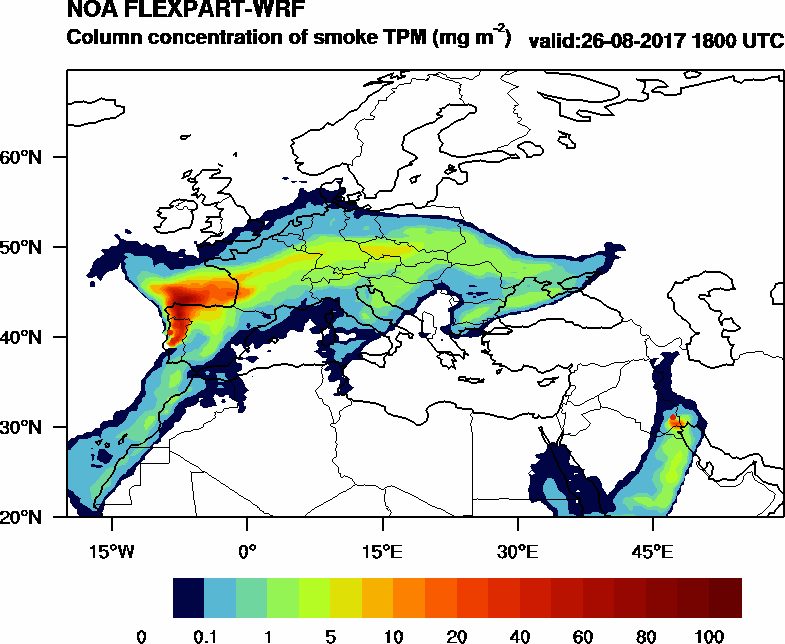Column concentration of smoke TPM - 2017-08-26 18:00