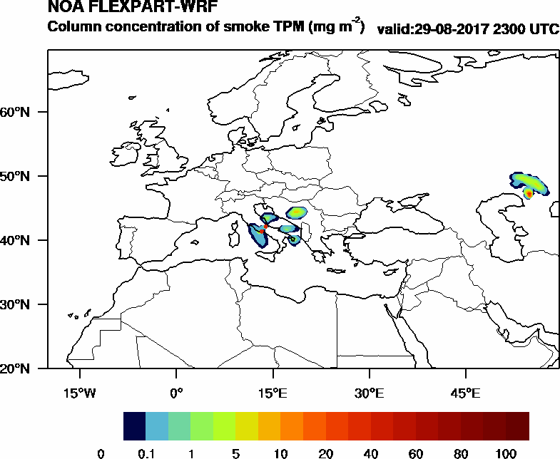 Column concentration of smoke TPM - 2017-08-29 23:00