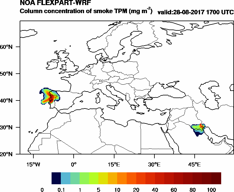 Column concentration of smoke TPM - 2017-08-28 17:00