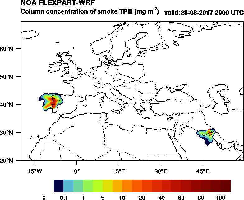 Column concentration of smoke TPM - 2017-08-28 20:00
