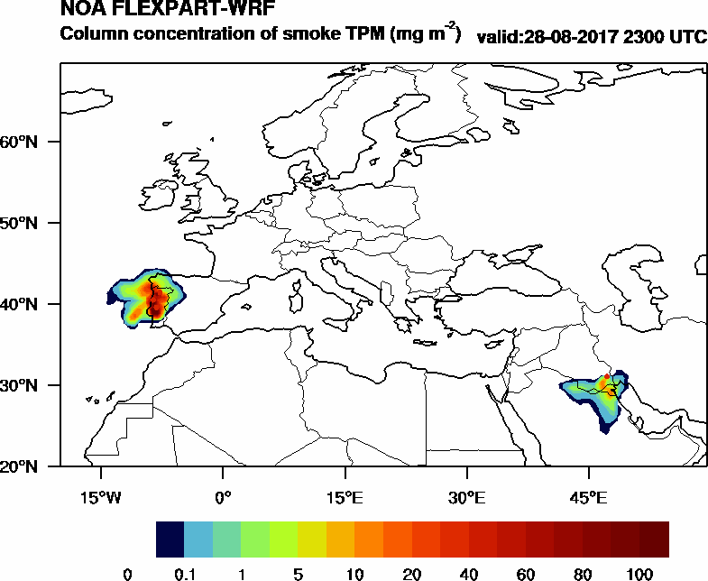 Column concentration of smoke TPM - 2017-08-28 23:00